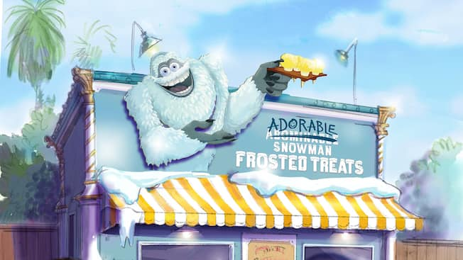 The Adorable Snowman Frozen Treats marquee shows the smiling Snowman holding a tray of soft serve cones