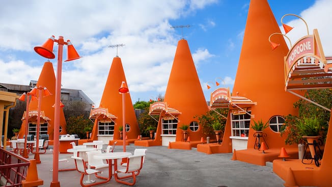A Row Of Oversize Construction Cones Make Up Cozy Cone Motel Snack Stands In Cars Land Disney California Adventure Park