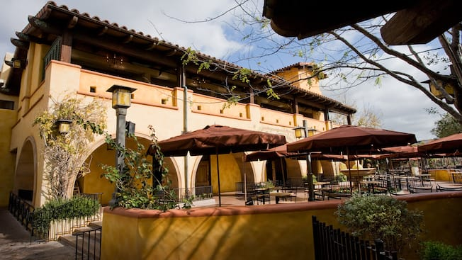 Italian-inspired architecture of Wine County Trattoria, a Disney California Adventure restaurant
