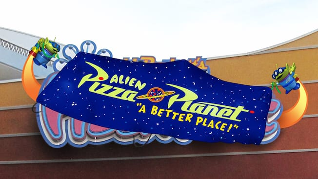 Alien Pizza planet sign in Tomorrowland at Disneyland Park