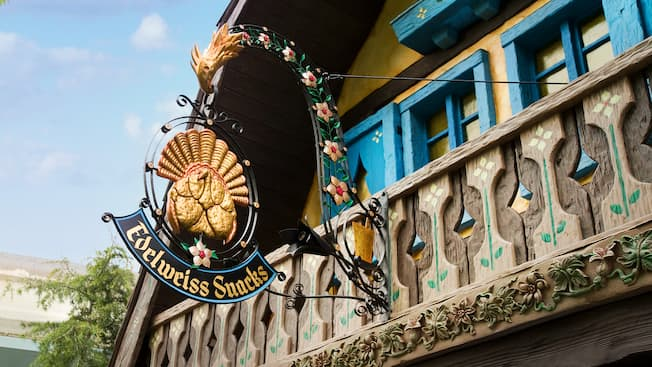 Edelweiss Snacks quick-service restaurant sign at Disneyland Park.