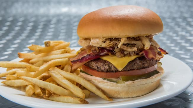 A Specialty Burger and fries from Galactic Grill