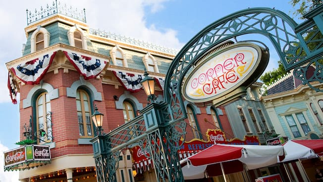 Sign for Corner Cafe and Coca Cola Refreshment Corner on Main Street, USA at Disneyland Park