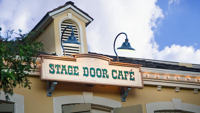 Western themed entrance sign for Stage Door Cafe at Disneyland Park