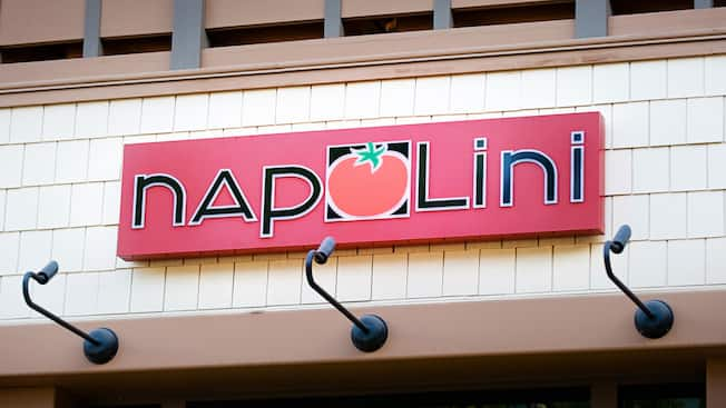 Sign for Italian deli, Napolini, Downtown Disney District, Disneyland Resort