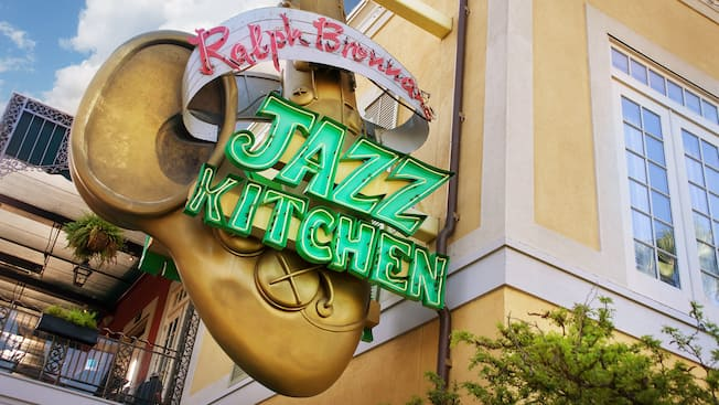 Entrance sign for Ralph Brennan's Jazz Kitchen at Downtown Disney District
