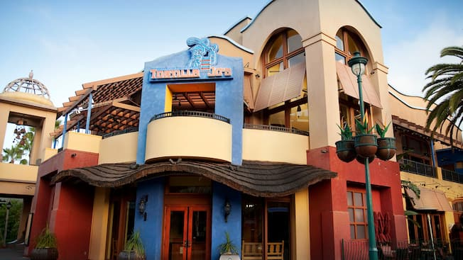 Entrance and sign for Tortilla Jo's Mexican Cantina at Downtown Disney District