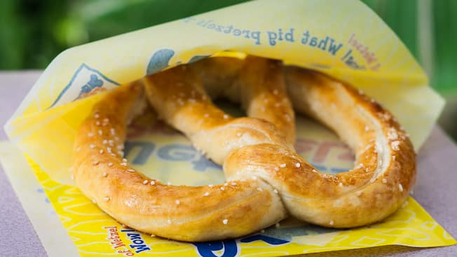 A salted, twisted pretzel treat at Wetzel's Pretzels in Downtown Disney District