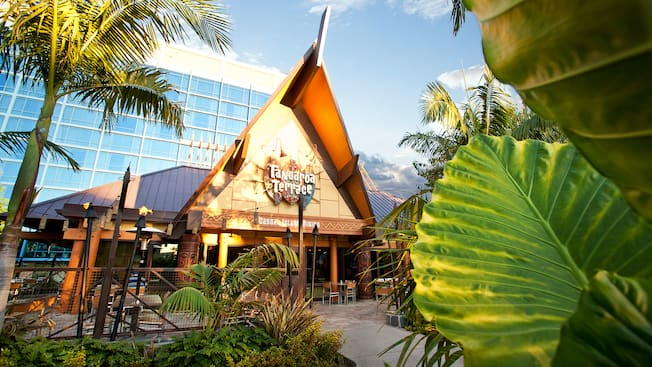 The entrance to Tangaroa Terrace restaurant at Disneyland Hotel is surrounded by palm trees