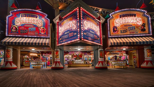 Sideshow Shirts illuminating the boardwalk area at Paradise Pier in Disney California Adventure Park