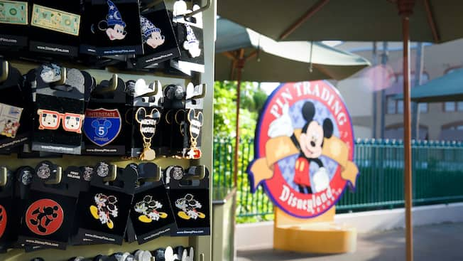 Close up on the display of pins at Disney's Pin Traders