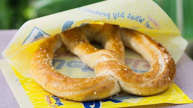 Salted original pretzel wrapped in a Wetzel's Pretzels paper liner