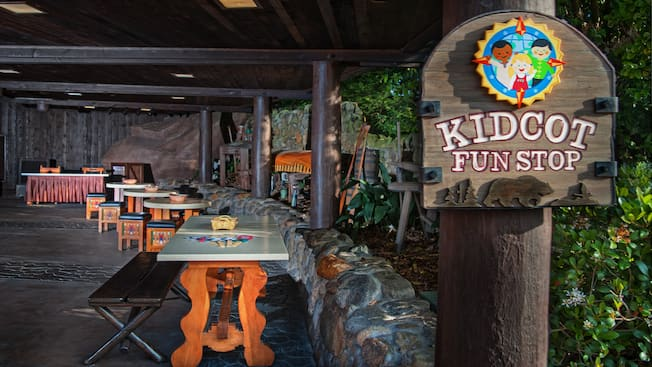 Sign for, and covered patio at Kidcot Fun Spot in the Canada pavilion at Epcot