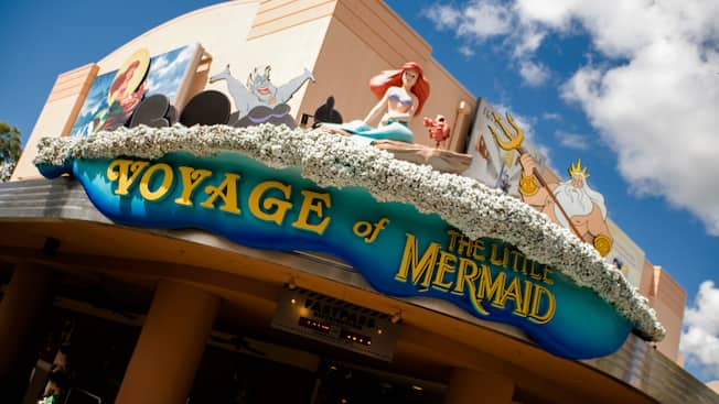 Building exterior and sign that reads 'Voyage of The Little Mermaid'
