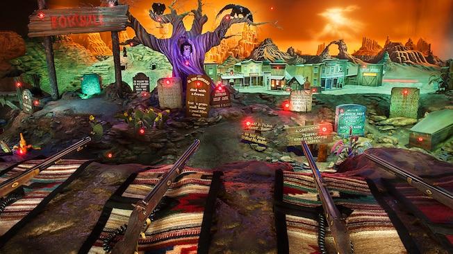Una escena de galería de disparos en Boothill Cemetery y un pueblo del Viejo Oeste en Frontierland Shootin' Arcade