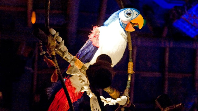 Figurine audio-animatronique d'un perroquet chanteur nommé Pierre à Walt Disney's Enchanted Tiki Room