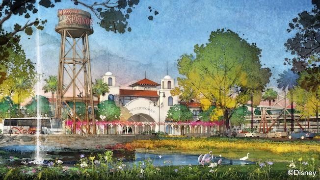 Arte conceptual de la entrada a Town Center, con la torre de agua de Disney Springs destacada en forma prominente en primer plano