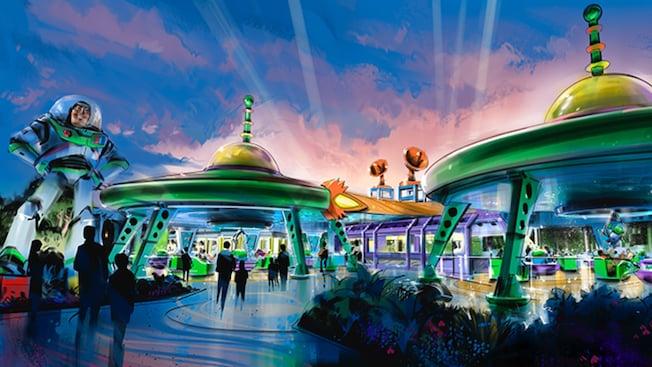 Art conceptuel de Toy Story Land avec une statue géante de Buzz Lightyear et un manège tournoyant Alien Swirling Saucers sous 2structures en forme de soucoupe volante rétro