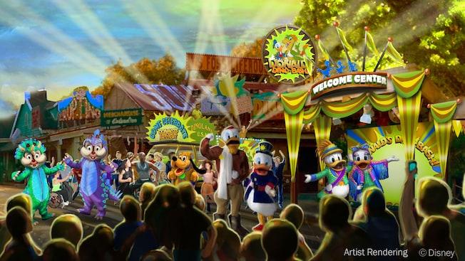 """Arte conceptual con Chip, Dale, Pluto, Launchpad McQuack, Scrooge McDuck, Donald Duck, Daisy Duck y una multitud alrededor de edificios y de un pabellón con un letrero que dice """"Donald's Dino-Bash Welcome Center"""""""