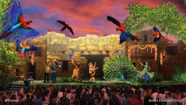 Ilustración de Dug y Russell en un escenario con un águila, un pavo real y una variedad de loros frente a una audiencia