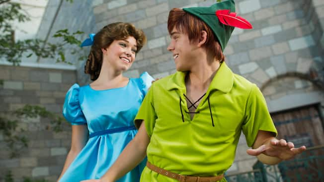 Peter Pan and Wendy at Meet Peter Pan in Fantasyland at Magic Kingdom park