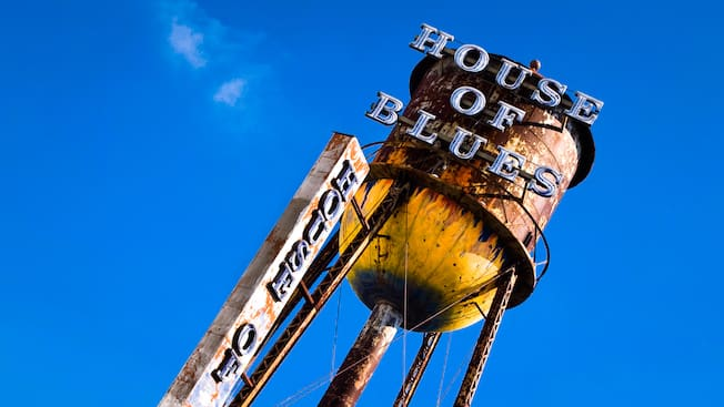 View skyward of the House of Blues sign