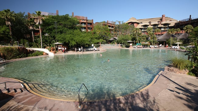 Samawati Springs Pool at Disney's Animal Kingdom Lodge featuring zero-depth entry and a long slide