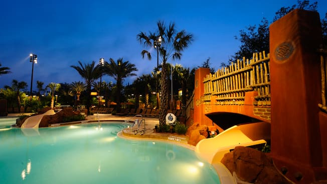A pool after dark at Disney's Animal Kingdom Villas – Kidani Village