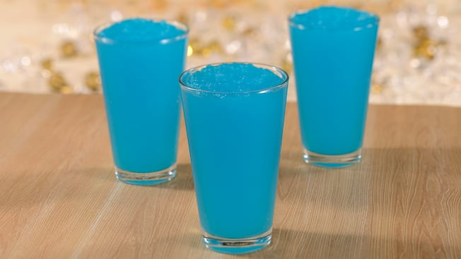Three blue raspberry frozen beverages