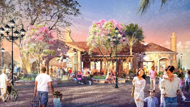 An artists rendering shows Guests walking around a brick paved Italian piazza that features flowering trees, tables, benches and lights draped from a rooftop