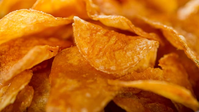 Close-up de kettle chips fresquinhos