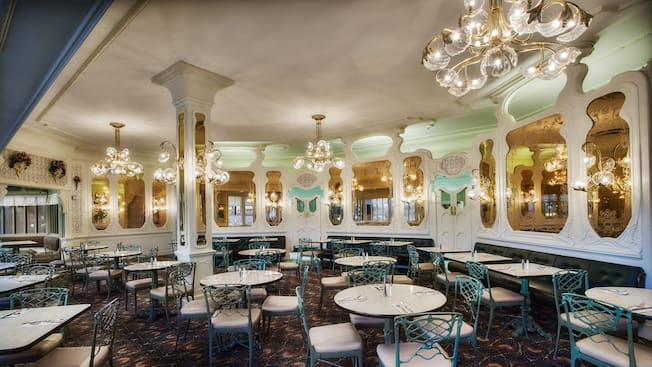 The Dining Area Inside Plaza Restaurant At Magic Kingdom Park