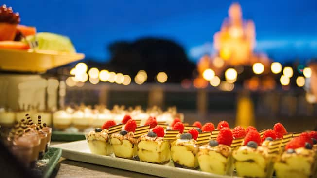 Close-up of rows of dessert pastries on a tray at Walt Disney World