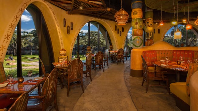 Sunny dining room of Sanaa, an African-inspired restaurant