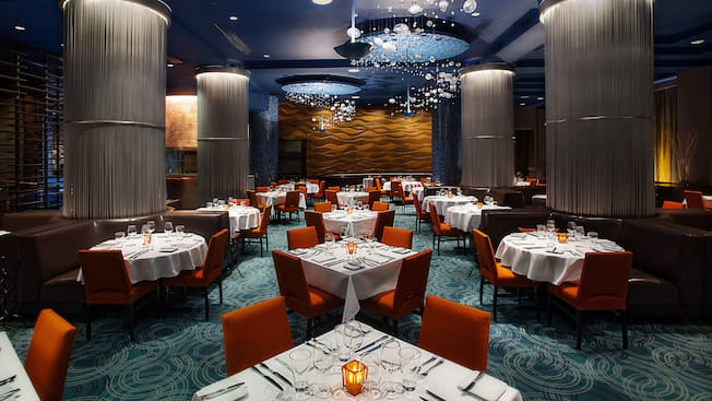 Dining area of Todd English's bluezoo restaurant at Walt Disney World Dolphin Hotel