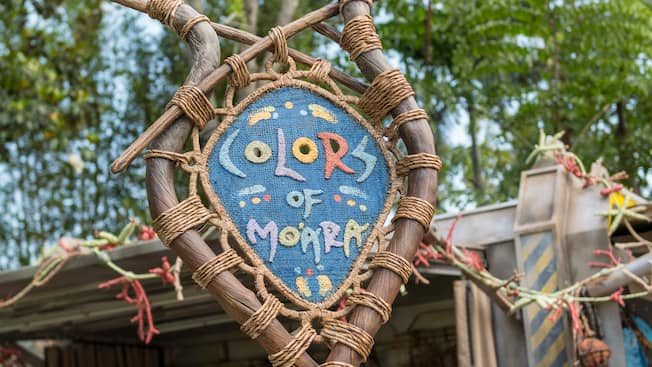 A woven sign for the Colors of Mo'ara face-painting kiosk located within Pandora – The World of Avatar
