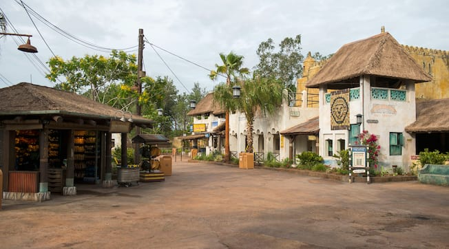 The exterior of Mariyas Souvenirs next to the Harambe Theatre