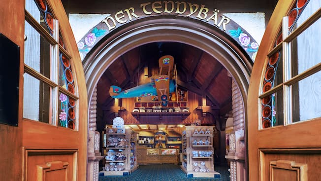 Entrance of Der Teddybär toy shop in the Germany Pavilion at Epcot