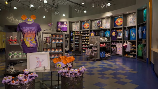 T-shirts, caps and toys inside ImageWorks in the Imagination! Pavilion at Epcot