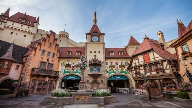 The Germany Pavilion at Epcot featuring cobblestone architecture and Bavarian-style buildings