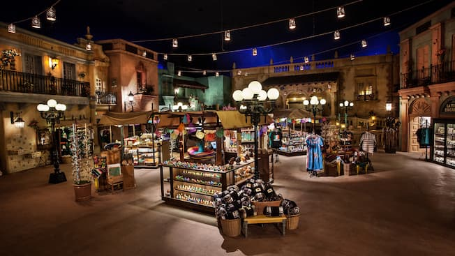 The Plaza de los Amigos marketplace inside the Mexico Pavilion at Epcot