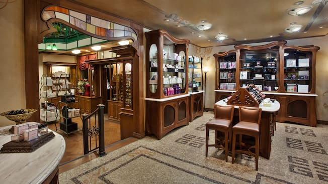 Elegant interior at Plume et Palette, a perfume and cologne store in the France Pavilion
