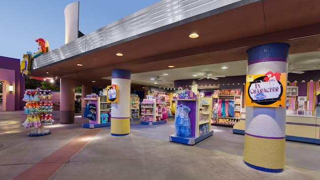 Clothes and toys at entrance to In Character – Disney's Costume Shop at Disney's Hollywood Studios