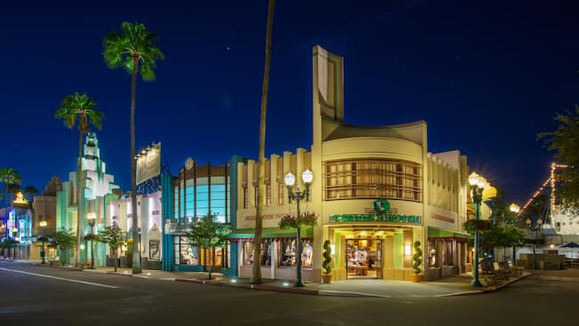 Keystone Clothiers at Disney's Hollywood Studios, lit up at night