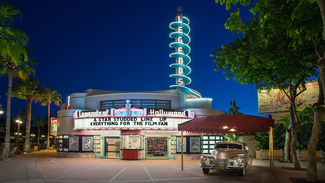 Legends at Disney's Hollywood Studios, lit up at night