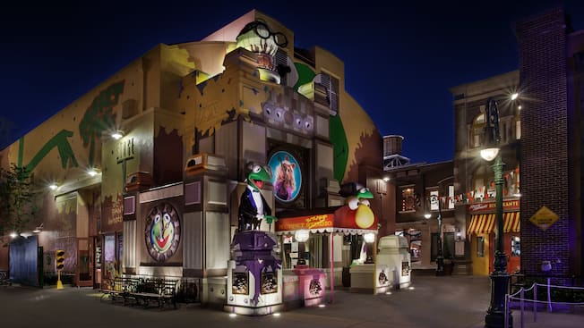 Exterior of the Stage 1 Company Store at Disney's Hollywood Studios at night
