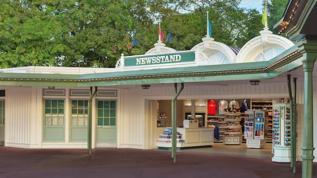 The Newsstand gifts and sundries shop at the entrance of Magic Kingdom park