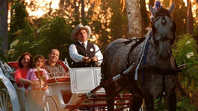 Un hombre con sombrero de vaquero pasea a una familia de 3 personas en un carruaje tirado por caballos