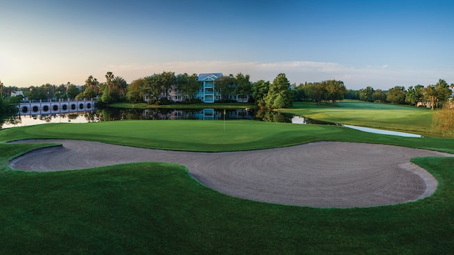 The Lake Buena Vista Golf Course sits across the waters of Lake Buena Vista