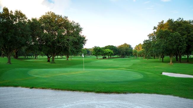 Un hoyo cercano al obstáculo de arena al final de la calle en Disney's Oak Trail Golf Course